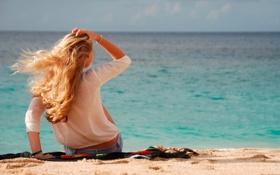 Обои море, девушка, пейзаж, волосы, спина, блондинка, синее