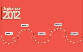 Обои осень, месяц, цифры, 2012, розовый фон, календарь, сентябрь