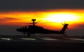Картинка небо, солнце, вертолёт, боевой, Apache, AH-64D, основной
