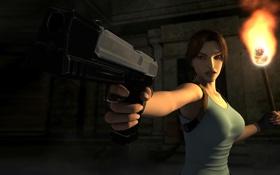 Картинка пистолет, арт, факел, Tomb Raider, Лара Крофт, рюкзак, Lara Croft