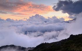 Картинка небо, облака, горы, высота
