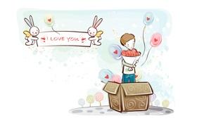 Картинка шарики, коробка, сердце, рисунок, букет, мальчик, зайцы