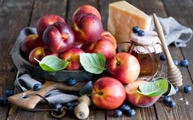 Картинка сыр, черника, мед, персики