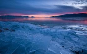 Обои холод, лед, закат, осколки, озеро
