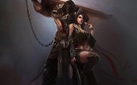 Обои девушка, оружие, меч, арт, цепь, леденец, парень
