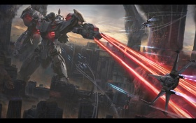Обои город, фантастика, робот, небоскребы, разрушение, гигант, spaceship