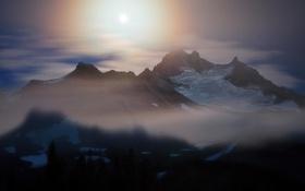 Картинка лес, солнце, облака, снег, горы