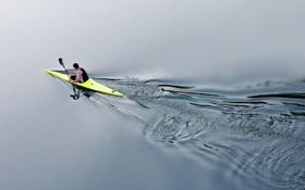 Обои озеро, спорт, лодка