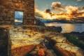 Картинка wall, bricks, clouds, scenery, stones, ruins, door