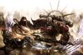 Картинка огонь, молнии, Warhammer, хаос, воины, схватка, warp