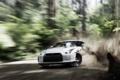 Картинка Nissan, Drift, Car, gt-r, White, Dust, Skid