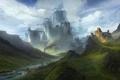 Картинка небо, облака, пейзаж, горы, река, замок, фантазия