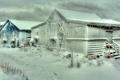 Картинка зима, небо, снег, дома, буран, пурга, поселок
