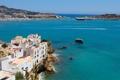 Картинка море, скалы, остров, дома, Испания, island, Spain