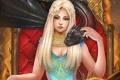 Картинка девушка, дракон, трон, игра престолов, Daenerys Targaryen