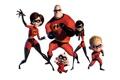 Картинка мультфильм, семья, белый фон, маски, костюмы, супергерои, The Incredibles