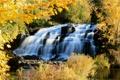 Картинка осень, деревья, водопад, каскад, Michigan, Bond Falls