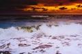 Картинка море, волны, облака, закат, горизонт, оранжевое небо