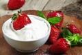 Картинка ягоды, сливки, клубника, red, красная, fresh, спелая