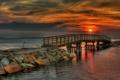 Картинка море, закат, мост, природа