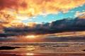 Картинка море, небо, облака, закат, тучи, природа, берег