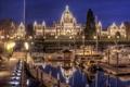 Картинка пристань, яхты, Виктория, Канада, Canada, ночной город, парламент