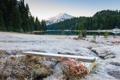 Картинка зима, иней, деревья, горы, природа, озеро, река