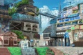 Картинка город, фонтан, eikura, здания, метро, арт, пейзаж