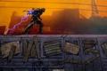 Картинка молния, арт, вагон, мужчина, заряд, Infamous 2