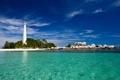 Картинка песок, камни, пальмы, океан, маяк, остров