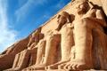 Картинка небо, облака, скала, храм, Египет, статуя, Абу-Симбел
