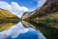 Картинка облака, горы, озеро, отражение, река, зеркало, фьорд