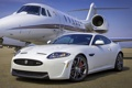 Картинка белый, небо, Jaguar, Ягуар, суперкар, самолёт, передок