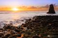 Картинка море, закат, скала, побережье, photographer, прилив, Kenji Yamamura