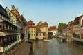 Картинка небо, Страсбург, канал, улица, люди, дома, Франция