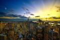 Картинка закат, город вечерний, небоскрёб, город.