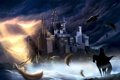 Картинка небо, облака, птицы, туман, река, замок, фантастика