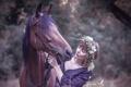 Картинка девушка, природа, настроение, конь