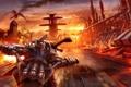 Картинка дорога, небо, закат, город, огонь, скорость, Дракон
