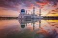 Картинка облака, закат, отражение, зеркало, Мечеть, Малайзия, Likas Бэй