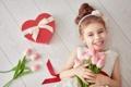 Картинка любовь, сердце, девочка, тюльпаны, love, heart, romantic