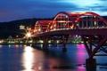 Картинка мост, огни, река