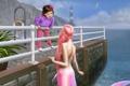Картинка цветы, русалка, причал, Девочка, перила