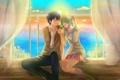 Картинка небо, девушка, солнце, закат, океан, аниме, арт