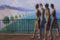 Картинка небо, мост, город, река, девушки, дома, картина