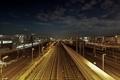 Картинка железная дорога, ночь, станция, поезда, огни