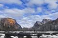 Картинка зима, небо, облака, снег, горы, озеро, камни
