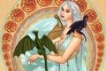 Картинка взгляд, украшения, лицо, голубое, платье, живопись, Daenerys Targaryen