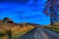 Картинка облака, осень, трава, небо, дорога, дом, дерево