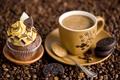 Картинка кофе, шоколад, зерна, печенье, ложка, чашка, сладости